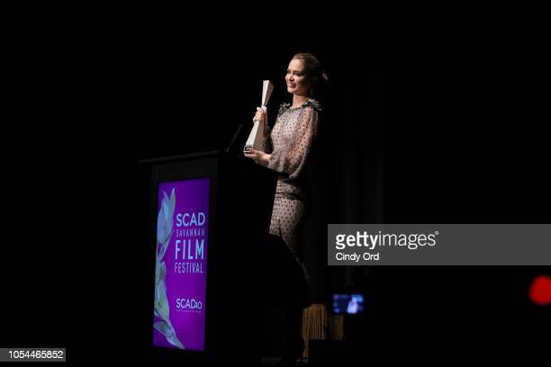 "Actor Emily Blunt speaks onstage during the ""A Quiet Place"" award presentation and screening at the 21st SCAD Savannah Film Festival on October 27,..."