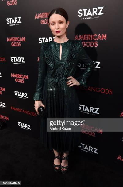Actor Emily Browning attends the American Gods premiere at ArcLight Hollywood on April 20 2017 in Los Angeles California