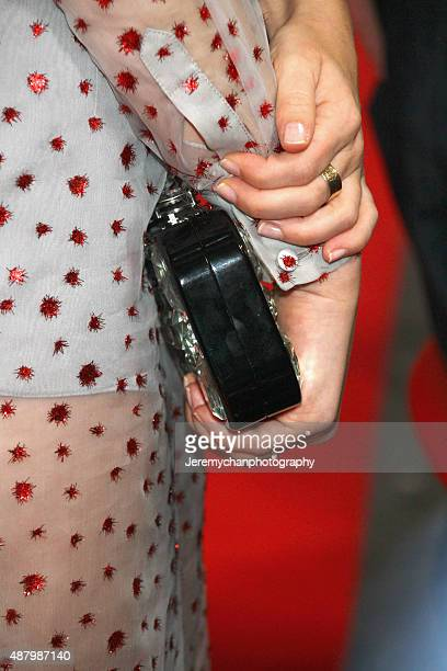 Actor Emily Browning clutch detail attends the Legend premiere during the 2015 Toronto International Film Festival held at Roy Thomson Hall on...