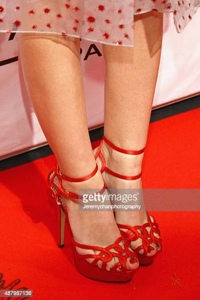 Actor Emily Browning shoe detail attends the Legend premiere during the 2015 Toronto International Film Festival held at Roy Thomson Hall on...