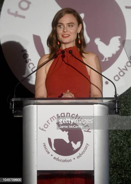 Actor Emily Deschanel speaks onstage during the 2018 Farm Sanctuary on the Hudson gala at Pier 60 on October 4 2018 in New York City