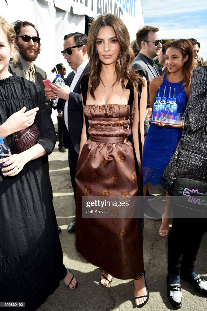 Actor Emily Ratajkowski with FIJI Water during the 33rd Annual Film Independent Spirit Awards on March 3, 2018 in Santa Monica, California.
