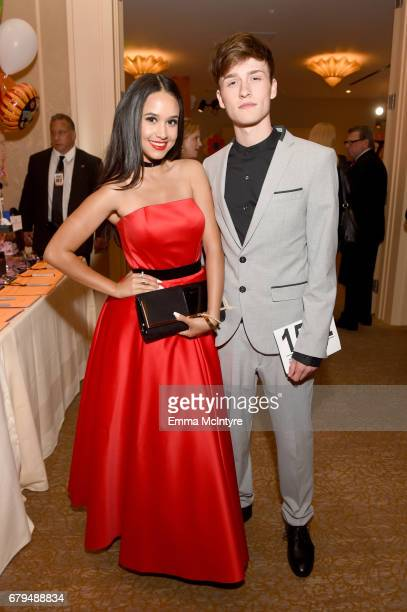 Actor Emily Tosta and Influencer Crawford Collins attend the 24th Annual Race To Erase MS Gala at The Beverly Hilton Hotel on May 5 2017 in Beverly...