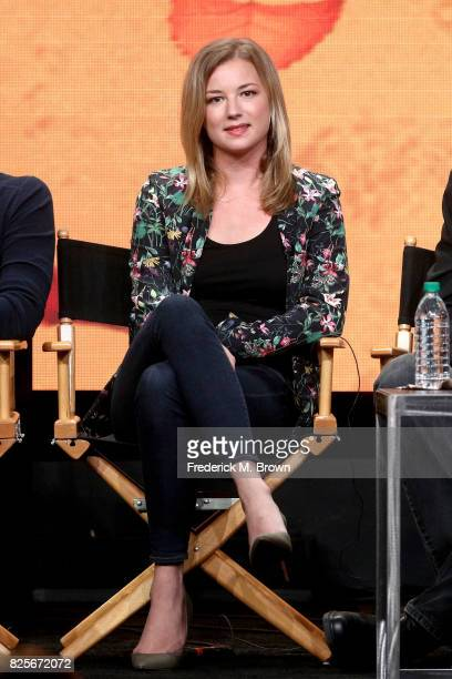Actor Emily VanCamp of ''Everwood' A 15th Anniversary Reunion' speaks onstage during the CW portion of the 2017 Summer Television Critics Association...