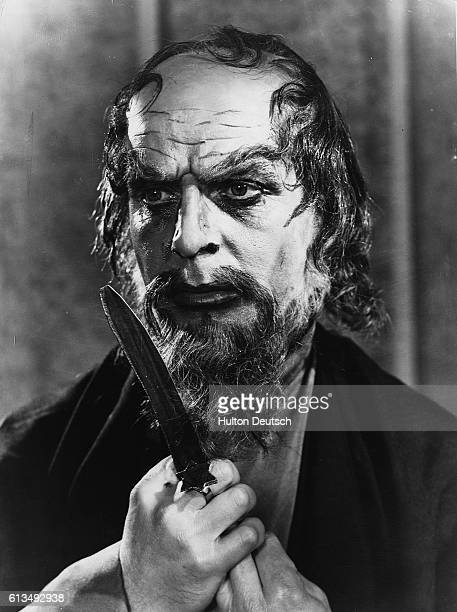 Actor Emlyn Williams as Shylock in Shakespeare's Merchant of Venice at the Memorial Theatre in Stratford 1956