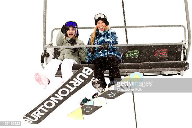 Actor Emma Roberts and AnneMarie Dacyshyn at the Burton Lounge at Park City Mountain Resort on January 21 2012 in Park City Utah