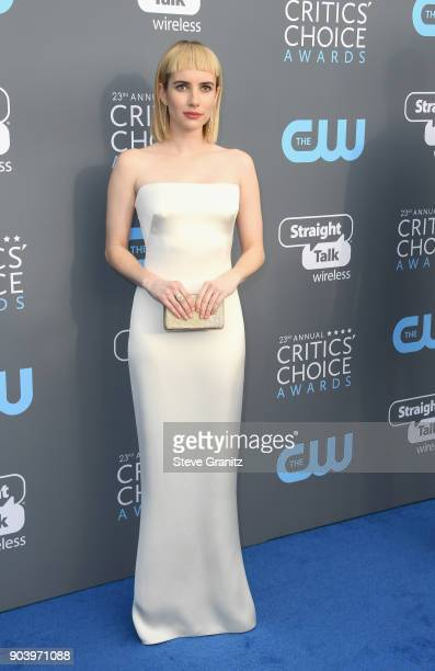 Actor Emma Roberts attends The 23rd Annual Critics' Choice Awards at Barker Hangar on January 11 2018 in Santa Monica California
