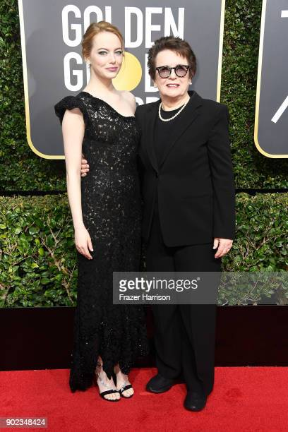 Actor Emma Stone and former tennis player Billie Jean King attend The 75th Annual Golden Globe Awards at The Beverly Hilton Hotel on January 7 2018...