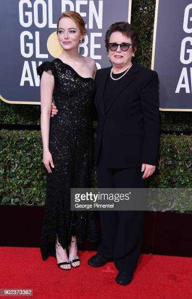 Actor Emma Stone and retired tennis player Billie Jean King attend The 75th Annual Golden Globe Awards at The Beverly Hilton Hotel on January 7 2018...
