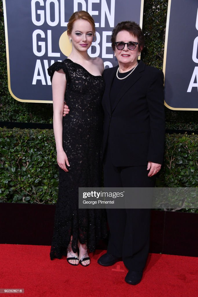 Actor Emma Stone (L) and retired tennis player Billie Jean King attends The 75th Annual Golden Globe Awards at The Beverly Hilton Hotel on January 7, 2018 in Beverly Hills, California.
