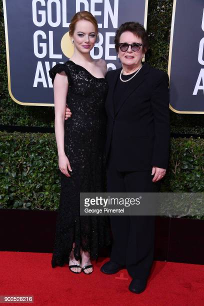 Actor Emma Stone and retired tennis player Billie Jean King attends The 75th Annual Golden Globe Awards at The Beverly Hilton Hotel on January 7 2018...
