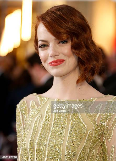 Actor Emma Stone arrives at the 87th Annual Academy Awards at Hollywood Highland Center on February 22 2015 in Los Angeles California