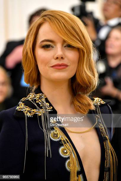 Actor Emma Stone attends the Heavenly Bodies Fashion The Catholic Imagination Costume Institute Gala at The Metropolitan Museum of Art on May 7 2018...