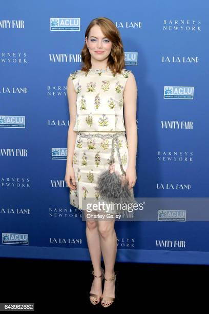 Actor Emma Stone attends Vanity Fair and Barneys New York Private Dinner in Celebration of 'La La Land' at Chateau Marmont on February 22 2017 in Los...