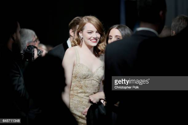 Actor Emma Stone backstage during the 89th Annual Academy Awards at Hollywood Highland Center on February 26 2017 in Hollywood California