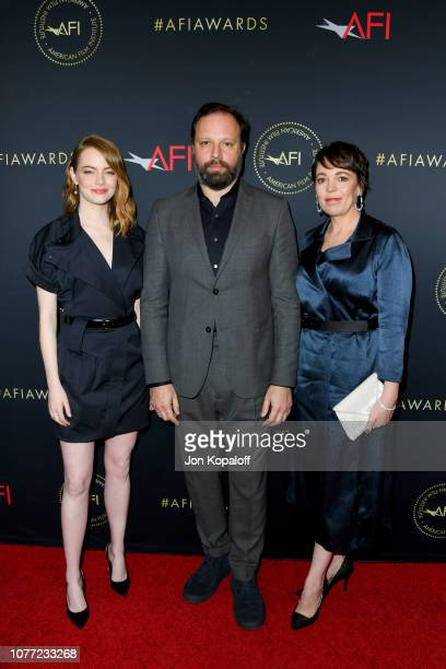 Actor Emma Stone directorproducer Yorgos Lanthimos and actor Olivia Colman attend the 19th Annual AFI Awards at Four Seasons Hotel Los Angeles at...