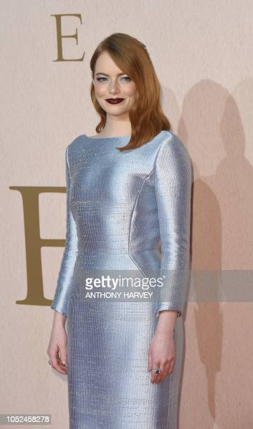 US actor Emma Stone Emma Stone poses upon arrival for the UK premiere of the film 'The Favourite' during the BFI London Film Festival in London on...