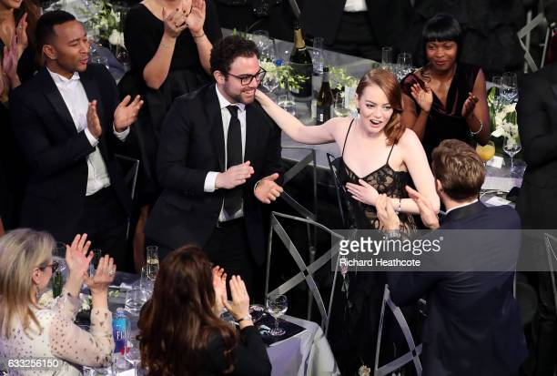 Actor Emma Stone wins the award for Best Female Actor in a Leading Role for 'La La Land' during The 23rd Annual Screen Actors Guild Awards at The...