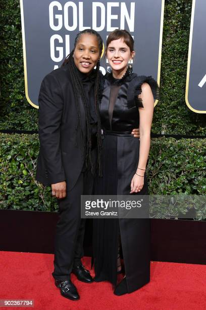 Actor Emma Watson and activist Marai Larasi attend The 75th Annual Golden Globe Awards at The Beverly Hilton Hotel on January 7 2018 in Beverly Hills...