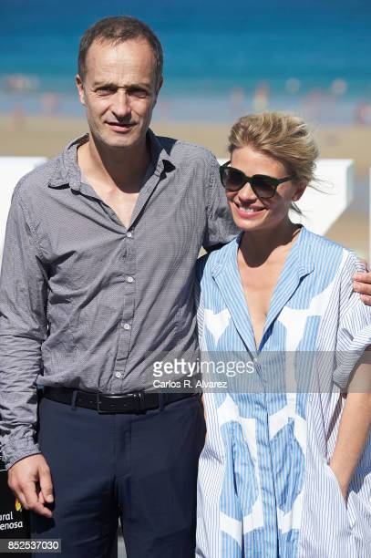 Actor Emmanuel Bourdieu and actress Melanie Thierry attend 'La Douleur/ Memoir Of Pain' photocall during 65th San Sebastian Film Festival on...