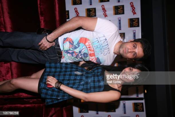 Actor Emraan Hashmi and Neha Sharma at a promotional event of their upcoming film Crook in New Delhi on October 1 2010