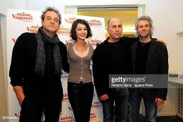 Actor Ennio Fantastichini Actress Nicole Grimaudo Director Fernan Ozpetek Producer Domenico Procacci attend a press conference for the cast of the...