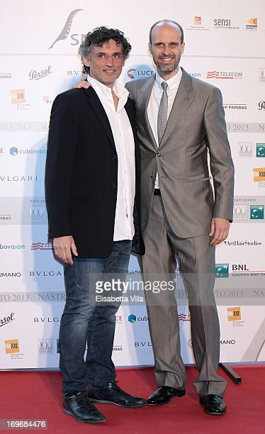 Actor Enrico Lo Verso and producer Edoardo Ponti attend 2013 Nastri d'Argento Award Nominations at Maxxi Museum on May 30 2013 in Rome Italy