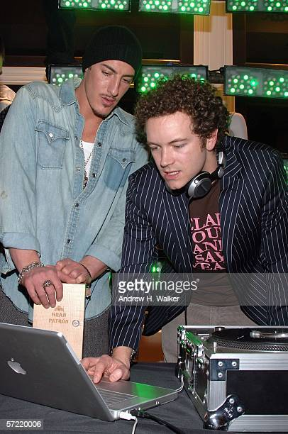 Actor Eric Balfour speaks with DJ Donkey Pizzle aka Danny Masterson at the launch of Ben Sherman's first official US Flagship Store on March 30 2006...