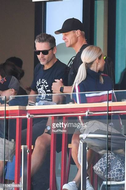 Actor Eric Bana and AFL legend Nick Riewoldt talk during the St Kilda Football Club AFL Intra Club match at RSEA Park on February 23 in Melbourne...