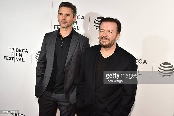 Actor Eric Bana and director and writer Ricky Gervais attends the premiere Special Correspondents during the 2016 Tribeca Film Festival at BMCC John...