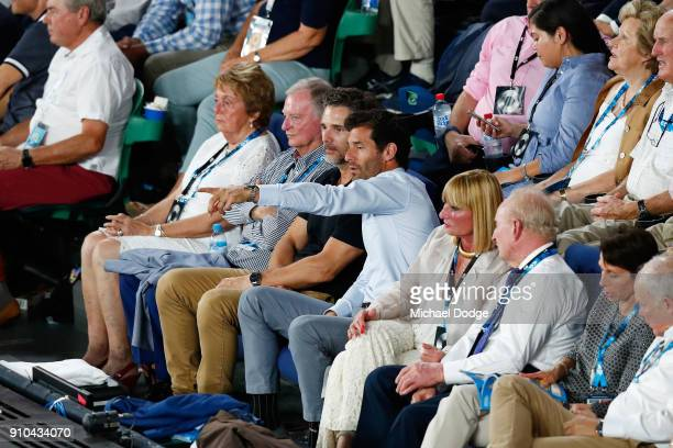 Actor Eric Bana and former Formula 1 driver Mark Webber watch the semifinal match between Hyeon Chung of South Korea and Roger Federer of Switzerland...