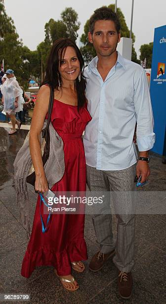 Actor Eric Bana and his wife Rebecca Gleeson arrive for the men's final match between Andy Murray of Great Britain and Roger Federer of Switzerland...
