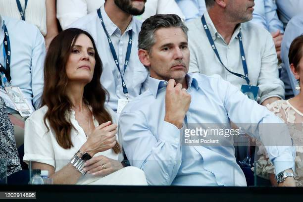 Actor Eric Bana and his wife Rebecca Gleeson watch the Semifinal match between Roger Federer of Switzerland and Novak Djokovic of Serbia on day...