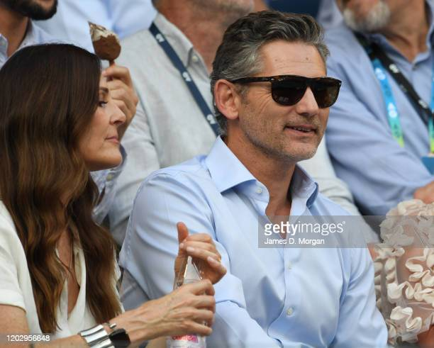 Actor Eric Bana and his wife wife Rebecca Gleeson watch the Semifinal match between Roger Federer of Switzerland and Novak Djokovic of Serbia on day...