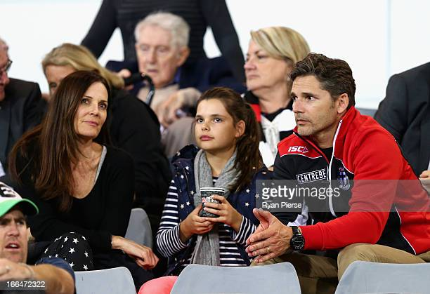 Actor Eric Bana daughter Sophia and wife Rebecca Gleeson look on during the round three AFL match between the Greater Western Sydney Giants and the...
