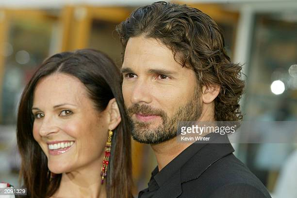 Actor Eric Bana who plays the Hulk and wife Rebecca Gleeson attend the world premiere of the movie The Hulk at Universal Studios on June 17 2003 in...
