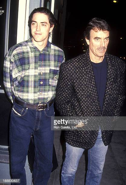 Actor Eric Braeden and son Christian Gudegast attend the American Film Market's Special Screening of The Last Paesan on February 28 1993 at the...