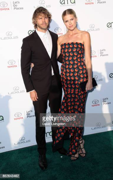 Actor Eric Christian Olsen and actress Sarah Wright attend the 27th Annual EMA Awards at Barker Hangar on September 23 2017 in Santa Monica California