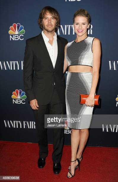 Actor Eric Christian Olsen and actress Sarah Wright attend the NBC Vanity Fair 2014 2015 TV season event at HYDE Sunset Kitchen Cocktails on...