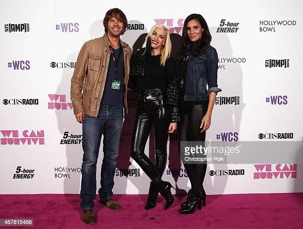 Actor Eric Christian Olsen recording artist Gwen Stefani and actress Daniela Ruah pose backstage during CBS Radio's We Can Survive at the Hollywood...