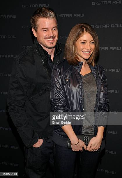 Actor Eric Dane and Actress Rebecca Gayheart pose backstage at the G Star Fall 2008 fashion show during MercedesBenz Fashion Week Fall 2008 at Gotham...