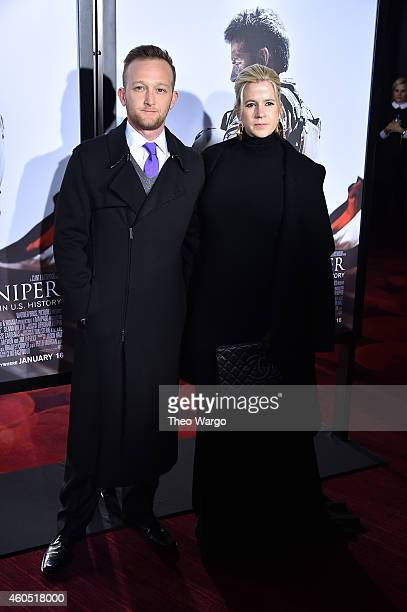 Actor Eric Ladin and Katy Ladin arrive at the 'American Sniper' New York Premiere at Frederick P Rose Hall Jazz at Lincoln Center on December 15 2014...