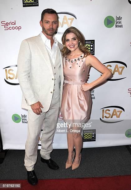 Actor Eric Martsolf and actress Jen Lilley arrive at the 7th Annual Indie Series Awards held at El Portal Theatre on April 6 2016 in North Hollywood...