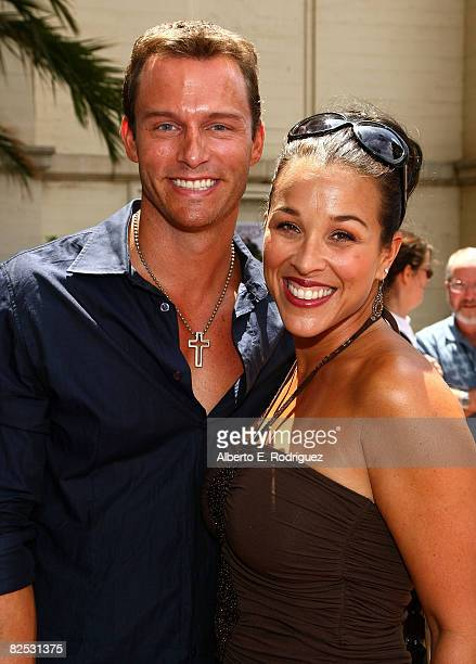 Actor Eric Martsolf and wife Lisa Kouchakarrive at the DVD launch of Walt Disney's Little Mermaid Ariel's Begining held at the Avalon Casino on...