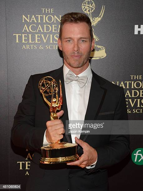 Actor Eric Martsolf, winner of Outstanding Supporting Actor in a Drama Series for 'Days of Our Lives,' poses in the press room during The 41st Annual...