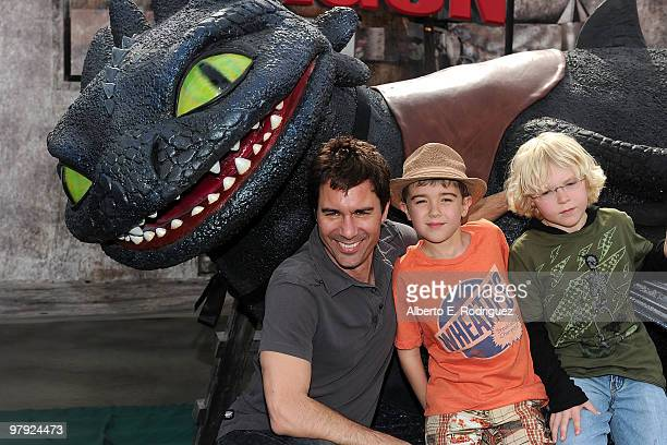 Actor Eric McCormack and family arrive at the premiere of Dreamworks Animation's How To Train Your Dragon on March 21 2010 at Gibson Amphitheatre in...