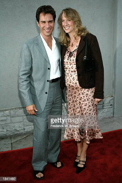 Actor Eric McCormack and his wife Janet attend the Project Angel Food's Angel Awards 2002 on August 17 2002 in Los Angeles California The...
