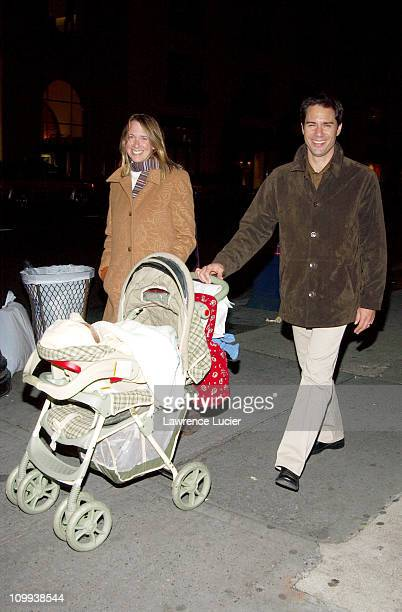 Actor Eric McCormack and his wife Janet Holden take their son Finnigan for a walk October 31 in New York City