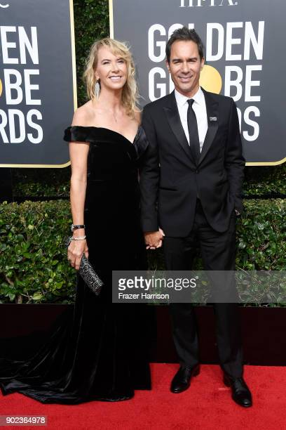 Actor Eric McCormack and Janet Holden attend The 75th Annual Golden Globe Awards at The Beverly Hilton Hotel on January 7 2018 in Beverly Hills...