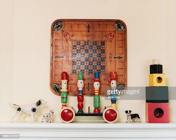 Actor Eric McCormack and Janet Holden's home is photographed for InStyle Magazine in 2001 in Los Angeles California McCormack's Collectibles on...